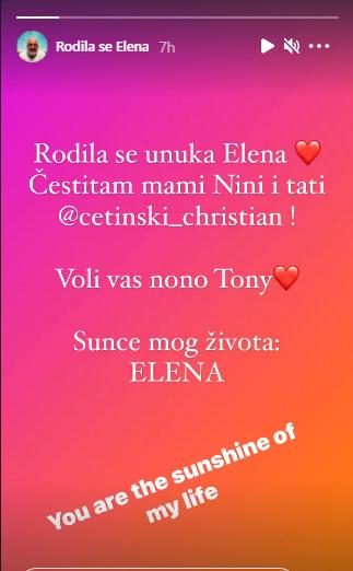 Tony Cetinski na Instagramu o rodenju Elene